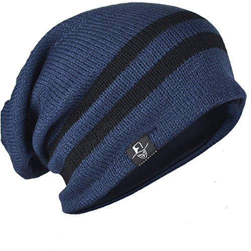 FORBUSITE Men Knit Slouchy Beanie Hat for Winter Summer, Oversized B318 Navy Blue