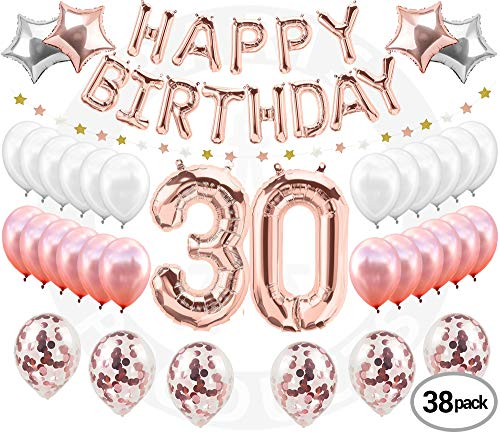 30th BIRTHDAY DECORATIONS Rose Gold (38 Pieces) | Great for 30th Birthday Party Supplies and Rose Gold Party Decorations | Includes Rose Gold Confetti Balloons | Dirty Thirty | Happy 30th BDay