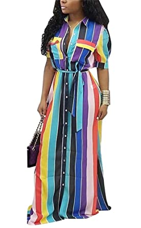 ab2600300eb LKOUS Womens Casual Button Down Collar Short Sleeve Stripes Belted Loose  Long Maxi Dresses Shirt Pockets