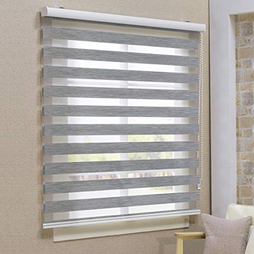 Keego Window Blinds Custom Cut to Size, Blackout Grey Zebra Blinds with Dual Layer Roller Shades, [Size W 82 1/2 x H 49] Dual Layer Sheer or Privacy Light Control for Day and Night