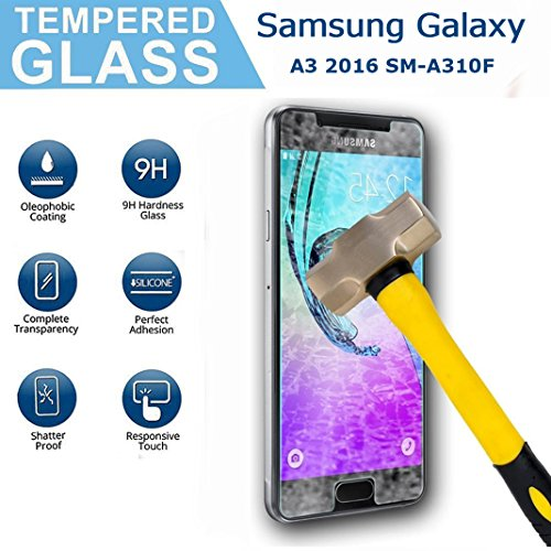 Samsung Galaxy A3 2016 SM-A310F Screen Protector, OuDu Tempered Glass Screen Protector for Samsung Galaxy A3 2016 SM-A310F Clear Protective Film with 9H Hardness & 2.5D Edge Technolog