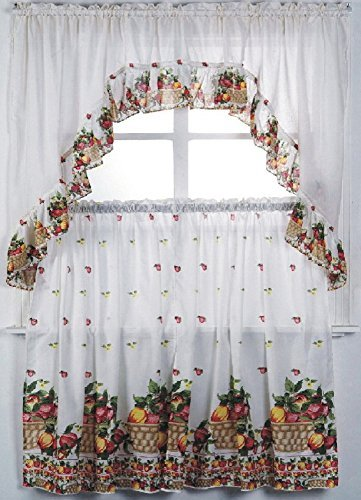 3 Piece Kitchen Curtain Set: 2 Tiers and 1 Valance (Fruit Basket) (Curtains Sale)