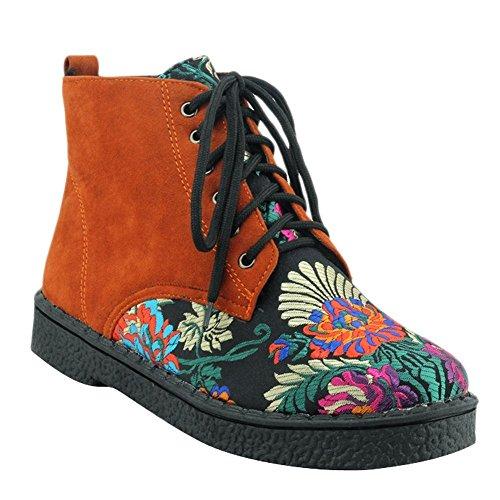 YE Damen Flache Ankle Boots Stiefeletten mit Blumenmuster und Schnürung Bequem Freizeit Schuhe Braun