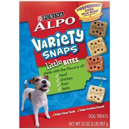 - Purina ALPO Variety Snaps Little Bites Dog Treats with Beef, Chicken, Liver & Lamb Flavors (1 Pack - 32 oz.)
