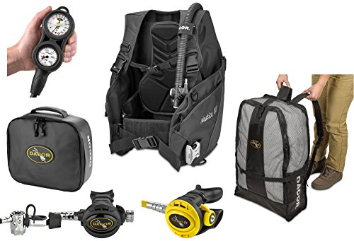 Dacor Nautica Weight Integrated BC Primary & Backup Scuba Regulator Package, Black, Large