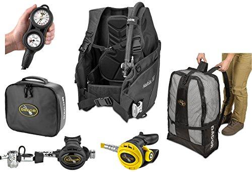 Regulator Gear Bag - Dacor Nautica XVI BC Pacer Plus X6 Air Complete Regulator Package with Scuba Gear Bag, Black, Large