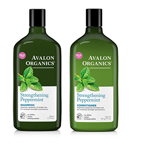 Avalon Organics Strengthening Peppermint Shampoo And Conditioner Bundle With Aloe Leaf Juice, Sunflower Seed Oil, Olive Oil, and Peppermint Oil, 11 oz. and 11 oz. Each