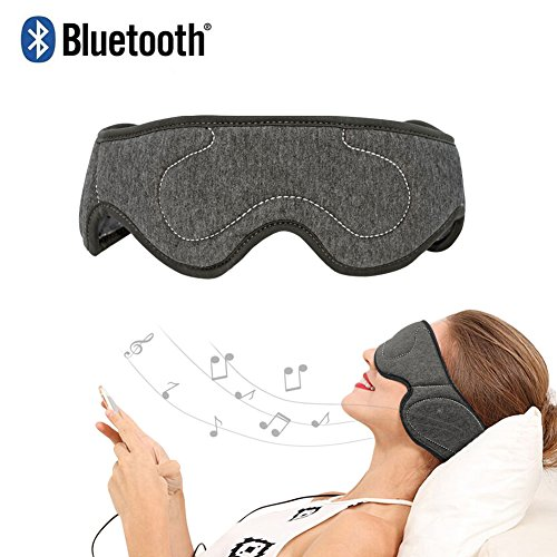 AMUOUZI Wireless Bluetooth Music Eye Mask with Stereo Speakers Sleeping Headphones Noise Cancelling Perfect for Air Travel, Meditation, Relaxation and Insomnia