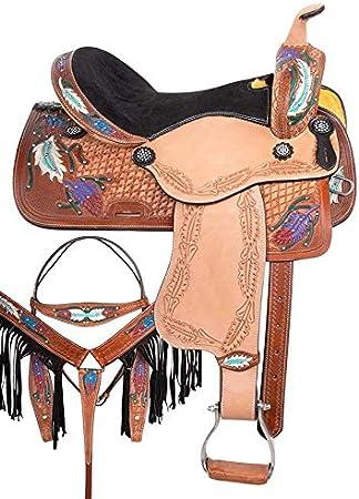 Wonder Wish Barrel Racing Western Pleasure - Juego de sillín para Caballos (Piel)
