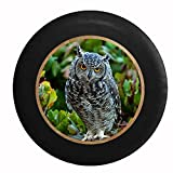 Full Color Staring Owl Close Up Grey and White Spotted Ye...