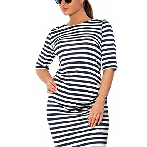 (haoricu Women Dress, L~6XL Women Fashion Plus Size Striped Knee-Length Loose Casual Dress (5XL, Black))