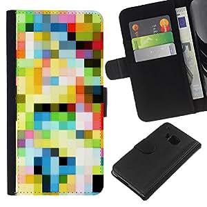 All Phone Most Case / Oferta Especial Cáscara Funda de cuero Monedero Cubierta de proteccion Caso / Wallet Case for HTC One M9 // Pattern Old Tv Colorful Squares Wallpaper