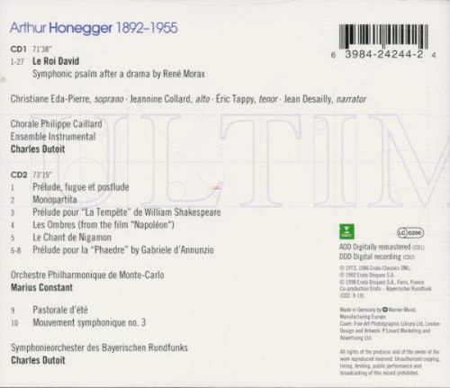 Honegger: Le Roi David / Orchestral Music by Erato
