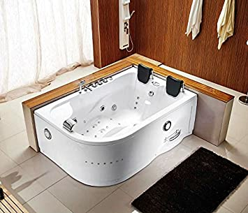 Good 71u0026quot; 2 Person Bathtub White Jetted Whirlpool 12 Massage Jets Shower  Wand Waterfall Faucet FM