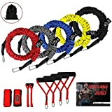 Resistance Bands, 11 Pieces Exercise Elastic Bands Set, 20lbs To 40lbs Resistance Tubes With Heavy Duty Protective Nylon Sleeves Anti-Snap - 5 Bands Door Anchors Ankle Strap Handles Bag