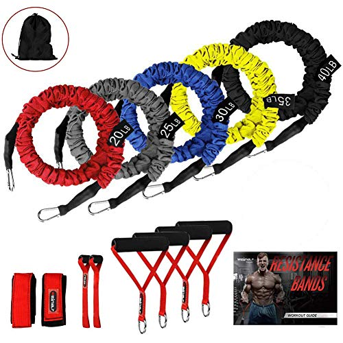 Resistance Bands, 11 Pieces Exercise Elastic Bands Set, 20lbs To 40lbs Resistance Tubes With Heavy Duty Protective Nylon Sleeves Anti-Snap - 5 Bands Door Anchors Ankle Strap Handles Bag (Best Exercise For Love Handles Men)