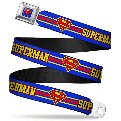 Superman/shield Stripe Blue/yellow/red Seatbelt Belt