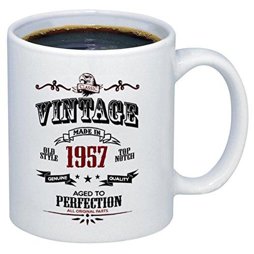 P & B 60th BirthdayギフトビンテージMade in 1957 All Original Partsセラミックコーヒーマグカップm336 11oz. ホワイト 11oz.  B074526N8W