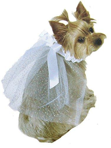 Dog Veil for wedding Satin and Tulle Pet Veil (S)