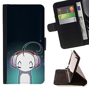 Momo Phone Case / Flip Funda de Cuero Case Cover - Auriculares de la música del amor de dibujos animados - HTC One M7