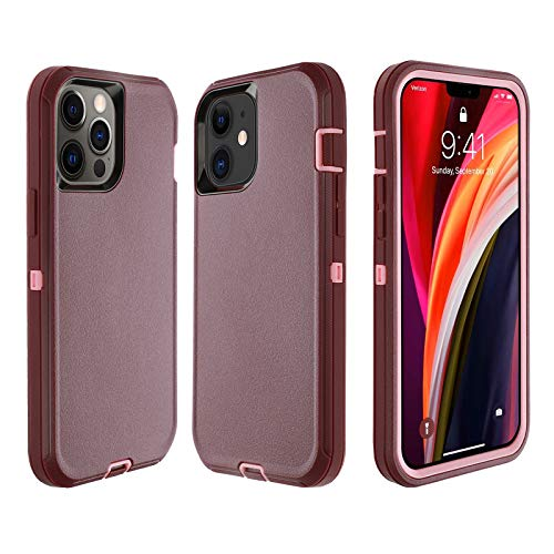 smartelf Compatible with iPhone 12/Compatible with iPhone 12 Pro Case(2020) 6.1 inch,Heavy Duty Shockproof Drop Protecton Hybrid Dual Layer Duable Hard Cover-Purple/Pink