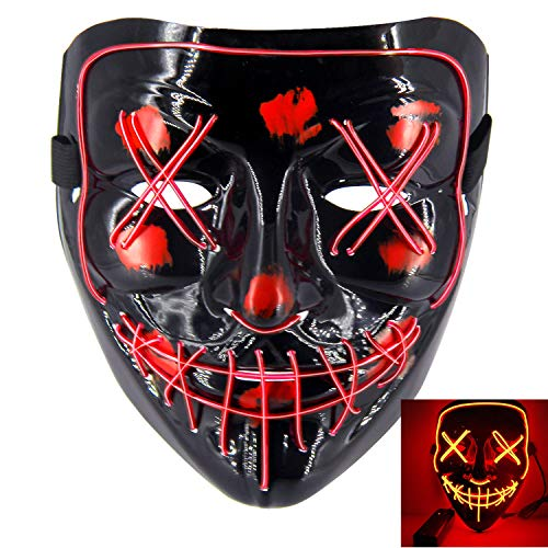 heytech LED Mask Halloween Scary Mask Cosplay Led Costume Mask EL Wire Light up for Halloween Festival Party Red -