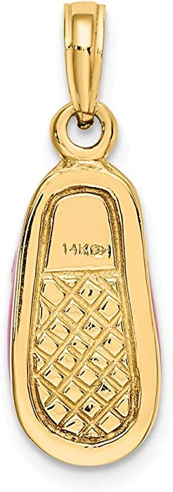 FB Jewels 14K Yellow Gold Gold Polished Textured Ballerina Slippers Pendant