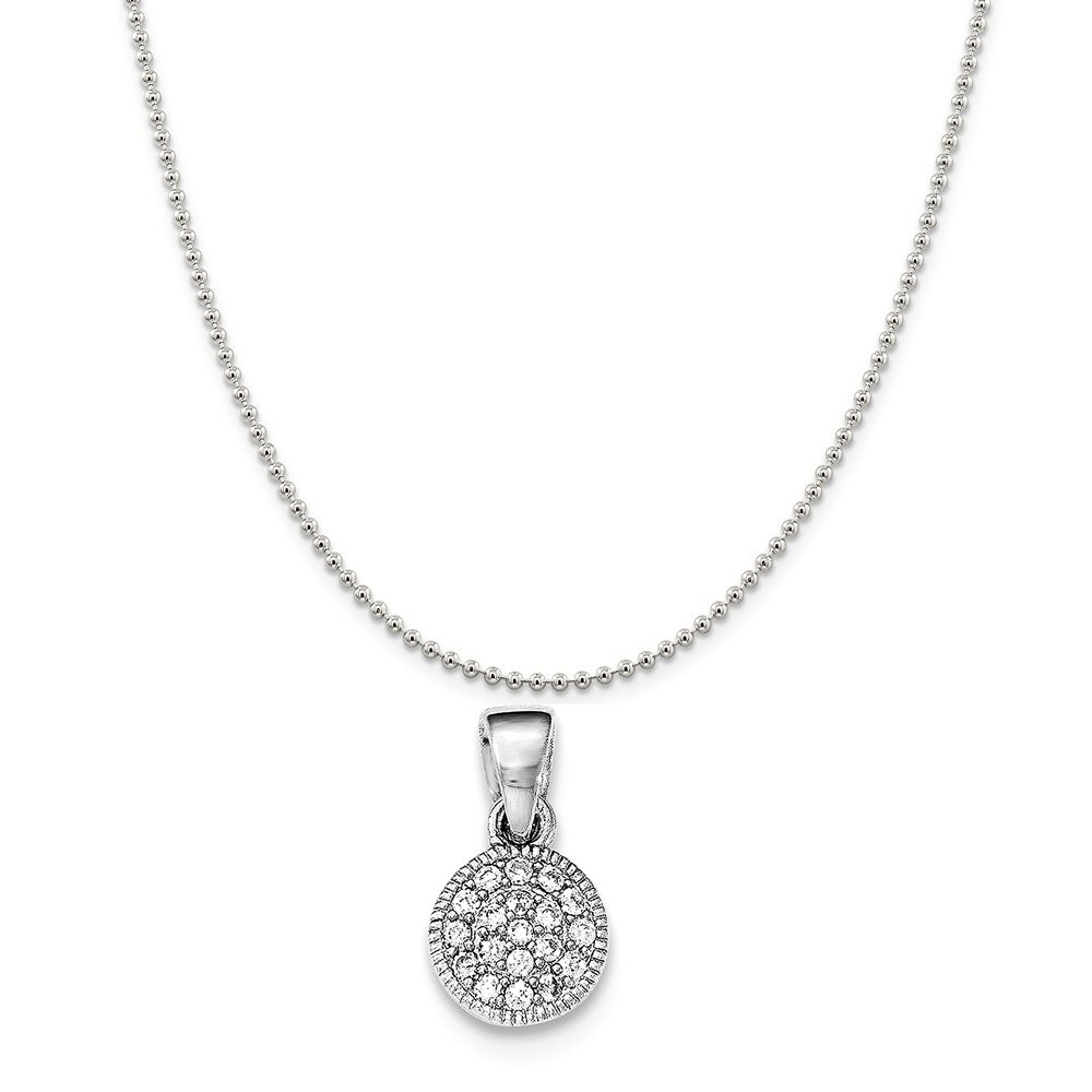 Sterling Silver Rhodium-Plated Synthetic CZ Circle Pendant on a Sterling Silver Cable Snake or Ball Chain Necklace