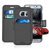 Samsung Galaxy S 6 Edge Leather Wallet Case with Credit Cards Slot and Metal Magnetic, TAKEN Galaxy S6 Edge Plastic Flip Case / Cover, Vintage and Fashion, Durable and Shockproof Holster (Gray) 2015