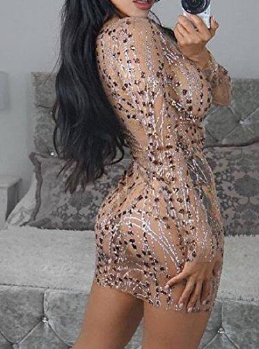 A-line Del Pannello Bodycon Disegno Floreale Delle Donne Comodi Vedere Attraverso Il Vestito Beige