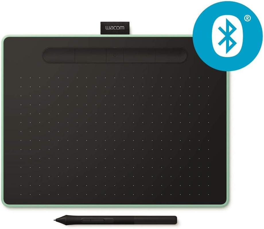 Wacom Intuos, Tableta Gráfica con Lápiz, Softwares Creativos, USB/Bluetooth/Inalámbrico y alámbrico, Mediano, Verde Pistacho