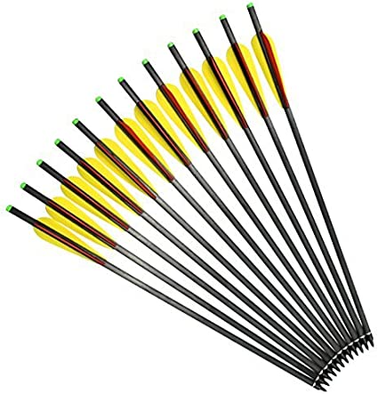 """16/""""-22/"""" Crossbow Bolts Carbon Hunting Arrows Hybrid Carbon Shaft 125 Grain Point"""