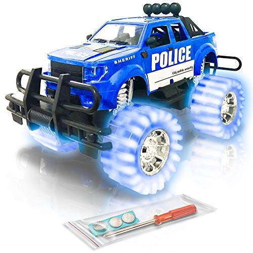 ArtCreativity Light-Up Police Monster Truck | 11 Monster Truck with Beautiful Flashing Blue LED Tires and Cool Music| Push n Go Toy Cars Best Gift for Kids Boys and Girls Ages 3+