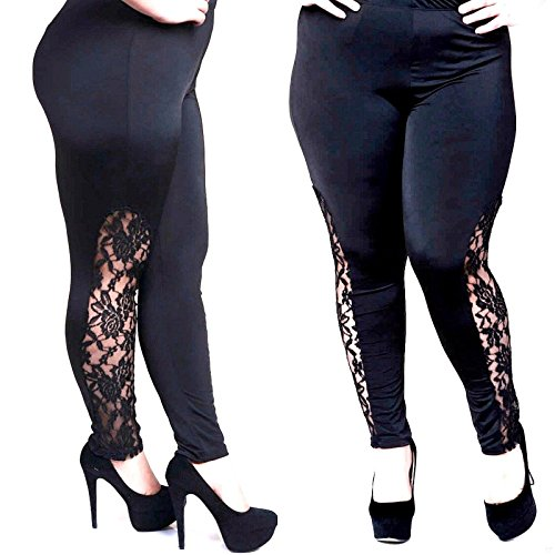 Womens Plus Size black Leggings with Elegant lace Panel Sizes YP1283 Made in USA (1X)