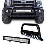 tuokiy Black Bull Bar Bumper Grille Guard for 04-17 Ford F150/03-17 Ford Expedition with 126W Led Light Bar +Free Wiring Harness