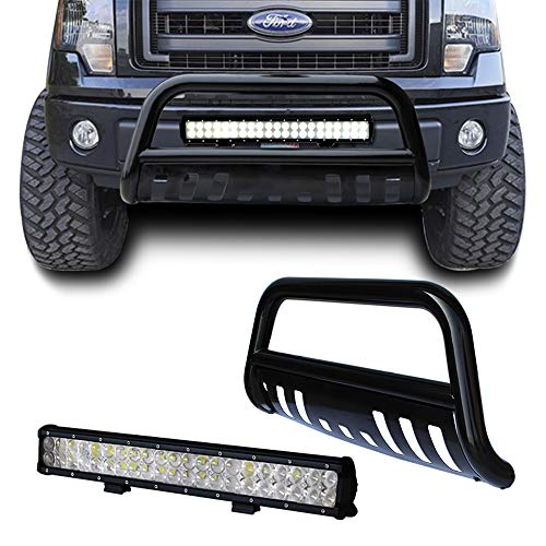 tuokiy Black Bull Bar Bumper Grille Guard for 04-17 Ford F150/03-17 Ford Expedition with 126W Led Light Bar +Free Wiring - Expedition Grille Ford Guard