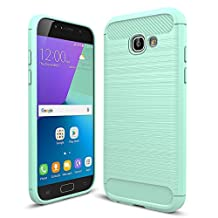 """MOONCASE Galaxy A5 (2017) Case, Carbon Fiber Resilient [Drop Protection] [Anti-Scratch] Rugged Armor Case Cover for Samsung Galaxy A5 2017 A520 5.2"""" Mint Green"""