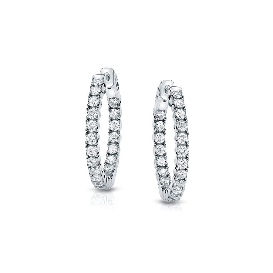 14k Gold Round cut Diamond in 4 Prong Hoop Earrings (1 cttw, H I, SI1 SI2)