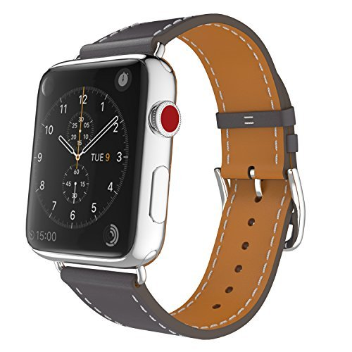 MoKo Compatible Band Replacement for Apple Watch 42mm 44mm Series 5/4/3/2/1, Luxury Genuine Leather Smart Watch Band Strap Single Tour Replacement - Quartz Gray (Not Fit 38mm 40mm Versions)