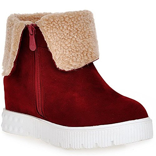 Women's Claret Boots Zipper Low Closed Heels Allhqfashion Top Frosted Toe Kitten Round pgCqZwx