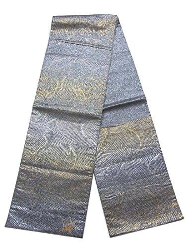 ご近所ラベ考えリサイクル 袋帯  波模様に飛鶴 正絹 六通