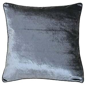 "Funda Lujosa Supersoft cojín de terciopelo plata gris de grosor, 55cm–22"""