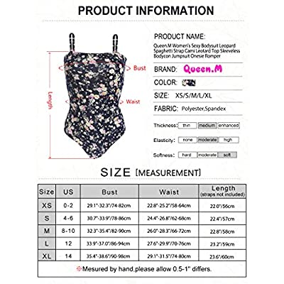 Queen.M Women's Sexy Bodysuit Leopard Spaghetti Strap Cami Leotard Top Sleeveless Bodycon Jumpsuit Onesie Romper: Clothing