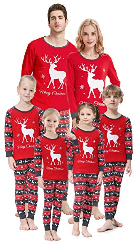 Kids Christmas Deer Pajamas Toddler 100% Cotton Sleepwear 2 Pieces Set Size 3t -