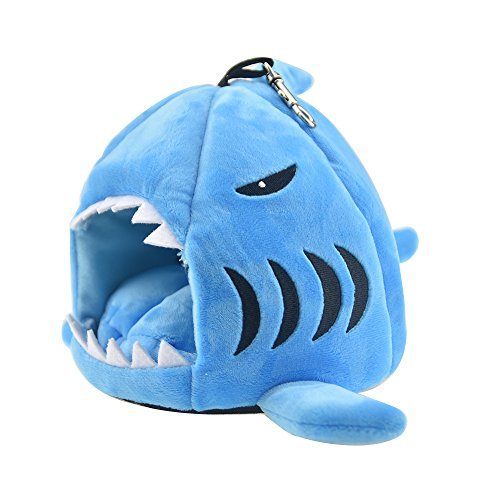 Cute Shark Guinea Pig Hamster Bed House Hammock Winter Warm Squirrel Hedgehog Chinchilla House Cage Nest Bed Hamster Accessories (M, Blue)