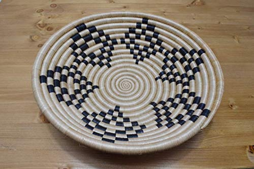 Hand Woven African Basket - Decorative Woven Bowl - Sisal & Sweetgrass Basket Handmade in Rwanda ~12'' - Tan, Black, - Hand Africa Woven Basket