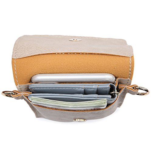 seOSTO Small Crossbody Bag Cell Phone Purse Wallet with 2 Shoulder Strap Handbag for Women Girls (Beige) … by seOSTO (Image #4)