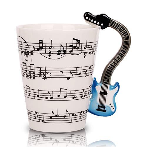 Novelty Guitar Music Unique Handle Art Musical Notes Holds Tea Coffee Milk Ceramic Mug Cup 12 Oz Best -