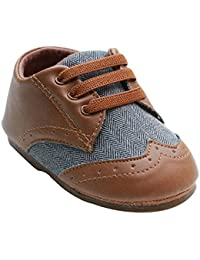 Baby Boys Brown Pu Leather +Canvas Rubber Sole Outdoor First Walkers Shoes 6-24 Months