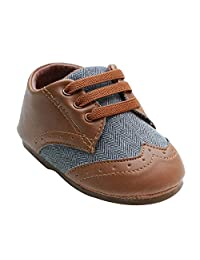 Kuner Baby Shoes Pu Leather Canvas Rubber Sole Non-Slip Outdoor Toddler Shoes for Boys 9-24months